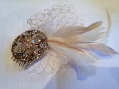 Vintage finish bridal haircomb, custom made . Swarovski crystal on Gold comb