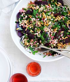 Middle Eastern-inspired beetroot and moghrabieh salad - minus the nuts, of course.
