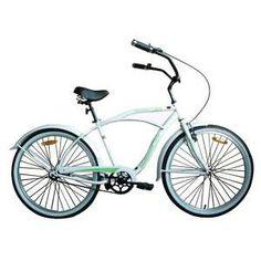 Woodworm Mens Beach Cruiser Bike- White/Green from #DealsDirect.com.au #bicycle #bike #retro #mensbicycle