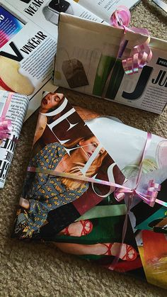 DIY Wrapping Paper Using Magazines - Save some coins! Use old magazines for gifts.