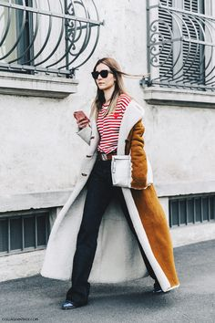 Milan FW Fall'16-MFW-Street_Style-Collage_Vintage-Chiara_Capitani-Striped_Top-Shearling_Long_Coat-2