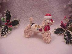 Vintage Ceramic Spaghetti Christmas Poodle.