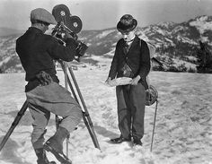 Charlie Chaplin on the set of The Gold Rush, 1925
