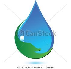 Vector - Water drop hand care logo - stock illustration, royalty ...