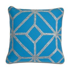 "Blue and Gray Diamond Pillow 18""""h x 18"""""