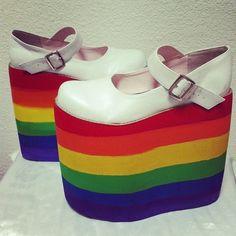 SHOES// Ridiculous Rainbow Platforms