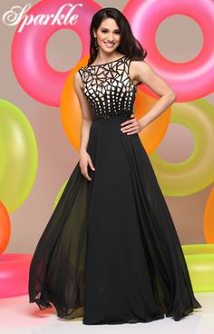 17ad4a3401b Sparkle Prom Style  71613 - Laser cut bateau neckline with v-back and long