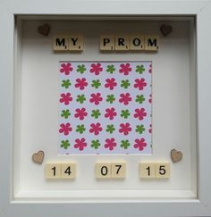 My prom personalised date high school college prom decor photo frame personalised scrabble family White box frame keepsake frame handmade
