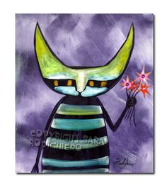 Thinking ~ orig. illustration on paper - Acrylic paint & watercolor - cats - pop art cat - LOL cats -