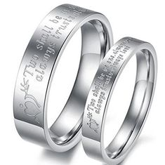 a2c9384a3d45 Ubeauty1999 2Pcs Silver Stainless Steel Dome Couples Ring His and Her Love  Engraved Wedding Promise Band