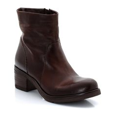 Scuby Heeled Aged Leather Boots MJUS   La Redoute Mobile