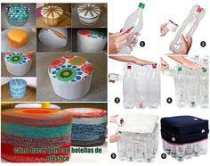 Puff hecho a base de botellas by yulimarkblue Plastic Milk Bottles, Plastic Bottle Crafts, Diy Bottle, Pop Bottles, Recycled Bottles, Plastic Recycling, Recycled Home Decor, Recycled Crafts, Diy Puffs