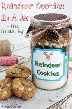 Best Mason Jar Cookies - Reindeer Cookies In A Jar - Mason Jar Cookie Recipe Mix for Cute Decorated DIY Gifts - Easy Chocolate Chip Recipes, Christmas Presents and Wedding Favors in Mason Jars - Fun Ideas for DIY Parties and Cheap LAst Mintue Gift Ideas for Friends, Family and Neighbors http://diyjoy.com/best-mason-jar-cookie-recipes