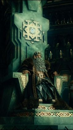 King Thror on the throne of Erebor Legolas, Gandalf, Thranduil, Lotr, Fantasy Books, Fantasy Art, Fili And Kili, J. R. R. Tolkien, O Hobbit