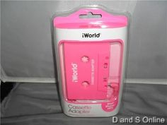 IWOLRD CASSETTE ADAPTER IPOD IPHONE MP3 NEW PINK