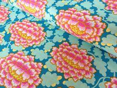 Turquoise And Pink Fabric Kaffe fassett fabric frilly