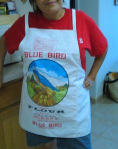 Classic Navajo Blue Bird Flour Sack Apron