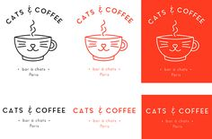 "Visual identity for a fictional cat bar in Paris named ""CATS & COFFEE"" and created as part of an exercise. Cat Bar, Paris Cat, Coffee Logo, Visual Identity, Corporate Identity, Animal Logo, Grafik Design, Brand Packaging, Logo Design"
