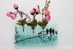 Fused glass  Curved vase Divided to three vases by virtulyglass, $45.00