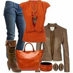 Boots, bag, leather zip jacket, jeans, shirt and necklace fashion | Fashion World