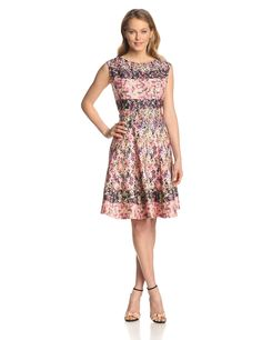 Julian Taylor Women's Sleeveless Floral Border Print Fit and Flare Dress at Amazon Women's Clothing store: