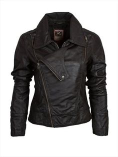 Women's asymmetric leather biker jacket I need this for the Harley in the future. And some boots
