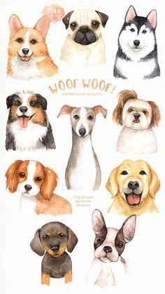 Carlin, Dog Illustration, Wedding Illustration, Watercolor Illustration, Dog Paintings, Watercolor Paintings, Watercolour, Woodland Animals, Woodland Nursery
