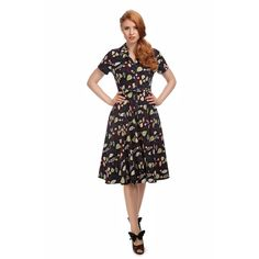 Collectif Vintage Caterina Woodland Leaves Swing Dress - Collectif Vintage from Collectif UK