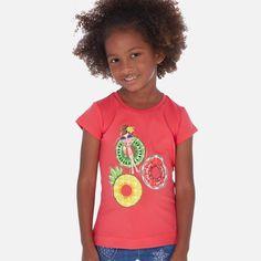 Mayoral Pink Fruit Floating Girl Print T-Shirt Sports Shops, Sports Brands, Pink Fruit, Baby Changing Bags, Nursery Storage, Tsunami, Baby Shop, Design Trends, Long Sleeve