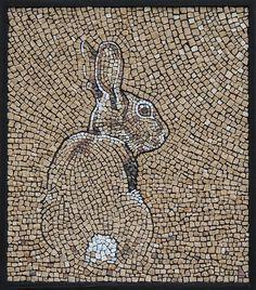 "Sandra Groeneveld mosaic.  ""Konijntje"" (aka Bunny) Stone on cement board  15.25\' x 17.5\"""