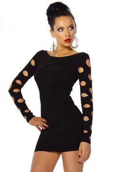 Minikleid mit seitlichen Cutouts schwarz Stretch Clubkleid Wetlook Kunstleder