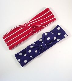 Nautical Set - Navy Polka Dot Knot Turban and Red / White Twisted Turban children and adult on Etsy, $16.00