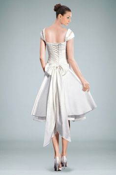 Cute, corset like back on short dress. Not crazy about the size of that bow. A-line Straps Cap Sleeves Knee-length Wedding Dress Decorated by Bow Tie