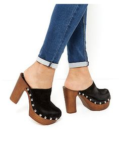 Black Suede Wooden Clog Heels | New Look -i need these!!!!