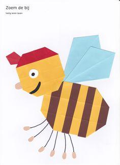 Zoem de bij - 16 vierkantjes en vlieger www.vouwjuf.nl