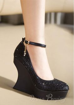 Newest 2012 Fall Black Platform Wedge Heel Closed-toes Wedding Shoes: dressbuying.com