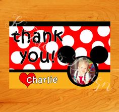 Customizable Mickey Mouse Thank You for birthday party #kfyansdesign