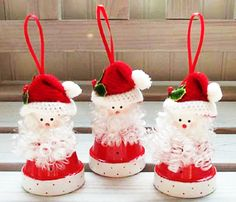 Santa ornaments made out of #clay #flowerpots.