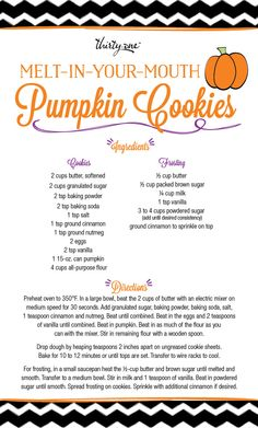 Melt-in-your-mouth Pumpkin Cookies! These look delicious! Phyllis O'Neill, Senior Executive Director, Thirty-One http://www.somanycutebags.com