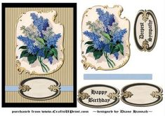 Victorian Lilac Flowers on Craftsuprint designed by Diane Hannah - Victorian Lilacs are the focal point of this lovely card. A solid black and corrugated looking textured background compliment the elements to their fullest. Using a blue ribbon gives a bit of color beneath the tag. A few decoupage elements will give added dimension, you will be proud to present this card. - Now available for download!