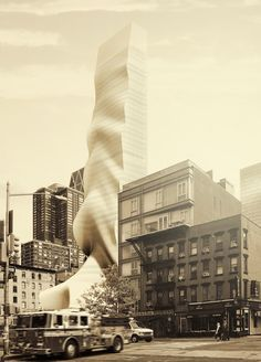àut studio proposes a draping-like high rise building in new york city
