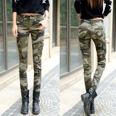 The new autumn and winter leisure camouflage jeans trousers jeans female feet Slim jean... - Street Fashion