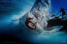 """""""Swimming under massive waves in Fiji"""" is a great underwater photo of Alison Teal duck diving a wave, with a surfer passing overhead by Sarah Lee Under The Water, Photos Sous-marines, Great Photos, Underwater Photographer, Underwater Photos, Ocean Underwater, Creative Photography, Art Photography, People Photography"""