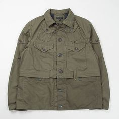 """smartsideofcasual: """"Now this is a jacket, Engineered Garments never cease to amaze me. Taking influence from classic fisherman jackets with 2 detachable pockets on the hem. There are 4 front button flap pockets, sleeve. Military Fashion, Mens Fashion, Army Shirts, Tactical Clothing, Engineered Garments, Work Jackets, Best Wear, Field Jacket, Canvas Jacket"""