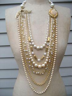 Vintage Necklace Wedding Necklace Pearl Necklace  by rebecca3030, $189.00