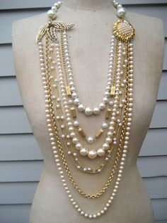 Vintage Pearl Strand Wedding Statement Necklace  by rebecca3030, $189.00
