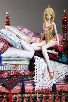 Princess and the Pea by cisley, via Flickr.  Enchanted Doll, Marina Bychkova
