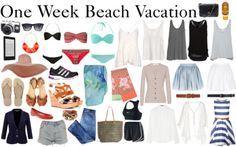 One Week Tropical Vacation Packing List by diamte featuring nike activewear A quick packing list for those of you gearing up for a week in the sun (on a beach, cruise, wherever the sun shines) Camera, Kindle, 3 swimsuits, 1 sun hat, 1 pair of sunglasses, workout kit, 1 pair rubber sandals, 1 pair day sandals, 1 day evening sandals, 2 pareos (day- beach cover up, night-scarves), 1 pair bright flats, 1 neutral cardign, 1 blazer, 1 pair neutral shorts, 1 pair jeans, 1 canvas beach tote, 1 large…