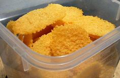 [keto!!!!] CHEESE CRISPS/CRACKERS - these are AWESOME! they're super easy to make, just spread some cheddar (or other) cheese on parchment paper, pop in the microwave until crisp (~40sec), and enjoy!