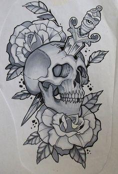 skull tattoo Tattoo Heart Dagger Skulls 64 Ideas For 2019 Skull Rose Tattoos, Body Art Tattoos, Sleeve Tattoos, Leg Tattoos, Celtic Tattoos, Star Tattoos, Stencils Tatuagem, Tattoo Stencils, Skull Tattoo Design